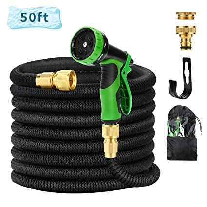 HmiL-U Garden Hose 150ft 45m Strongest Double Latex Inner Tube Prevent Leaking Magic Hosepipe with 9 Function Spray Gun+Solid Brass Fittings Retracted Length 50ft 【2 YEARS 100/% Guaranteed】 150ft