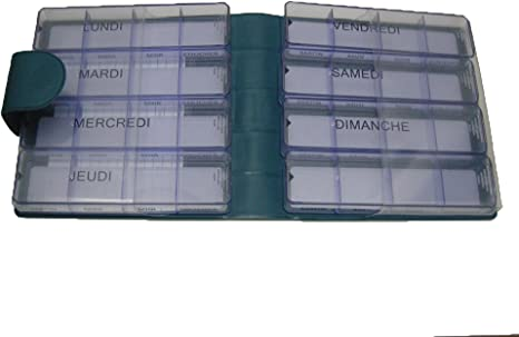 Pastillero semanal Medimax – Luxe, Lagoon (azul lago), francés, grande en estuche, 7 + 1 Días Babá, 28 + 4 compartimentos. Gran capacidad para medicamentos muchos o) impermeables. Etui sólido, rígida, material