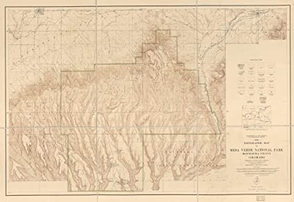 Amazon.com: Map Poster - Topographic map of Mesa Verde National Park ...