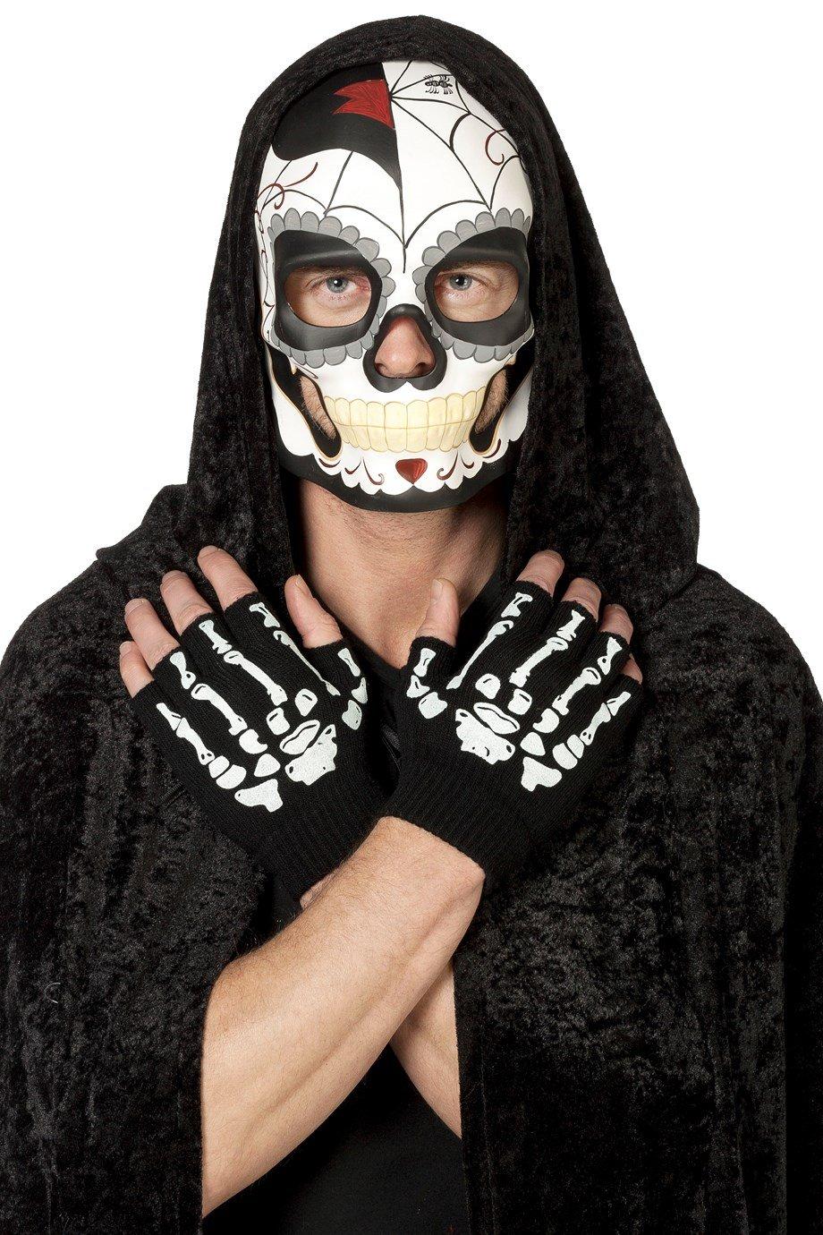 Jannes 34386 Halloween-Maske Tag der Toten Toten der für Herren Day of The Death Dia de los Muertos Mexico Mexiko Grusel Horror Scary HochwertigEinheitsgröße Schwarz 11bb43