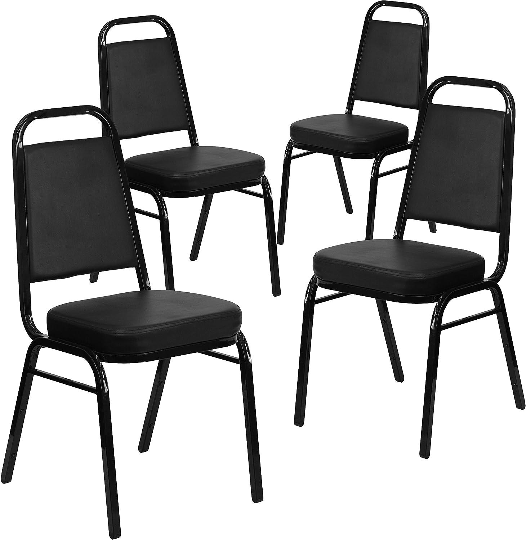 Flash Furniture 4 Pk. HERCULES Series Trapezoidal Back Stacking Banquet Chair in Black Vinyl - Black Frame