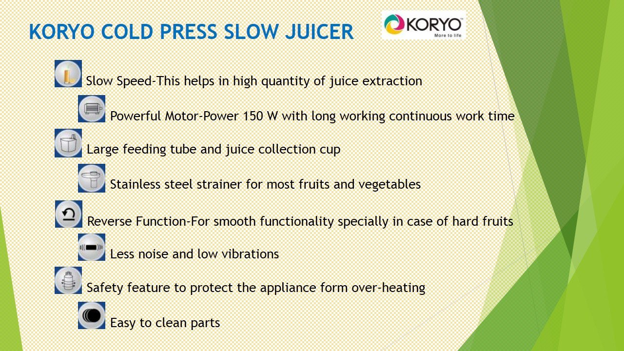 Buy Koryo KSJ 1501 Cold Press Healthy Slow Juicer Online at Low ...