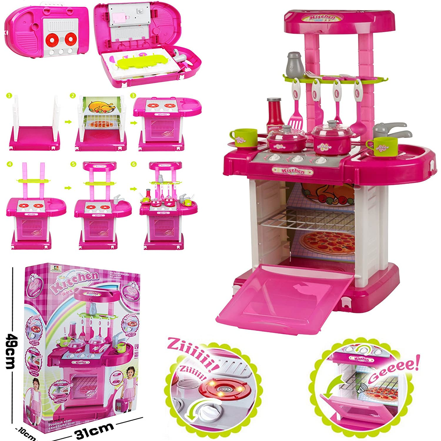 kids children portable pink electronic kitchen cooking girl toy