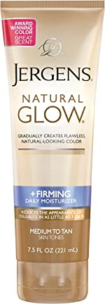 Jergens Natural Glow +FIRMING Self Tanner, Sunless Tanner for Medium to