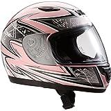 Protectwear Casque moto pour enfant / fille, rose/argenté, SA03-PK, Taille: XS / Youth L (52/53 cm)