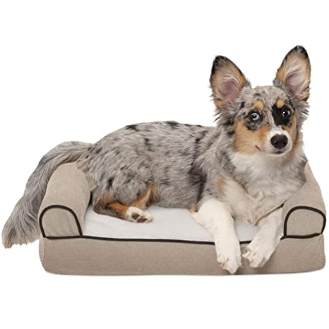Furhaven - Sofá cama para mascotas, forro polar sintético y chenilla, tejido suave,