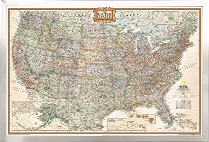 Amazon framed executive us push pin travel map 24x36 in brushed framed executive us push pin travel map 24x36 in brushed nickel finish wood frame with push gumiabroncs Gallery