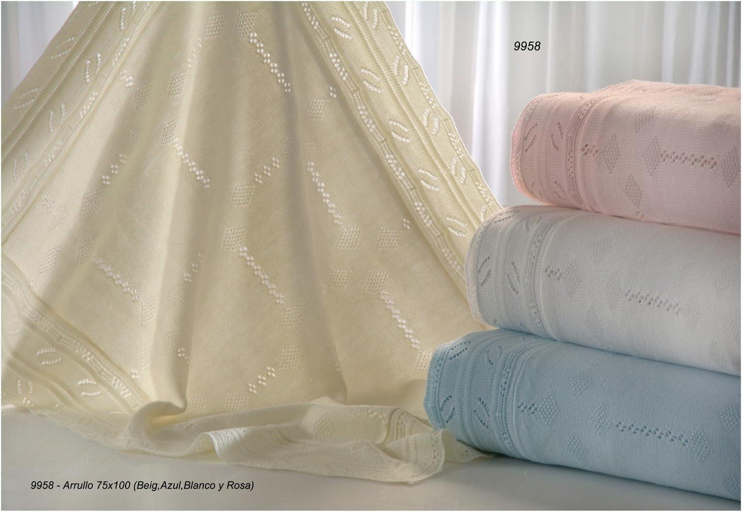 blue GAMBERRITOS Plain Tricot Knitted Swaddling Blanket 75 x 100 cm