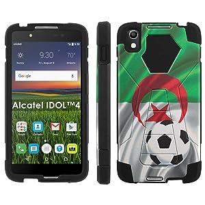 Alcatel One Touch IDOL 4 [Nitro 4/49] Phone Cover, Algeria Flag with Soccer Ball - Black Hexo Hybrid Armor Phone Case for Alcatel One Touch IDOL 4 [Nitro 4/49]