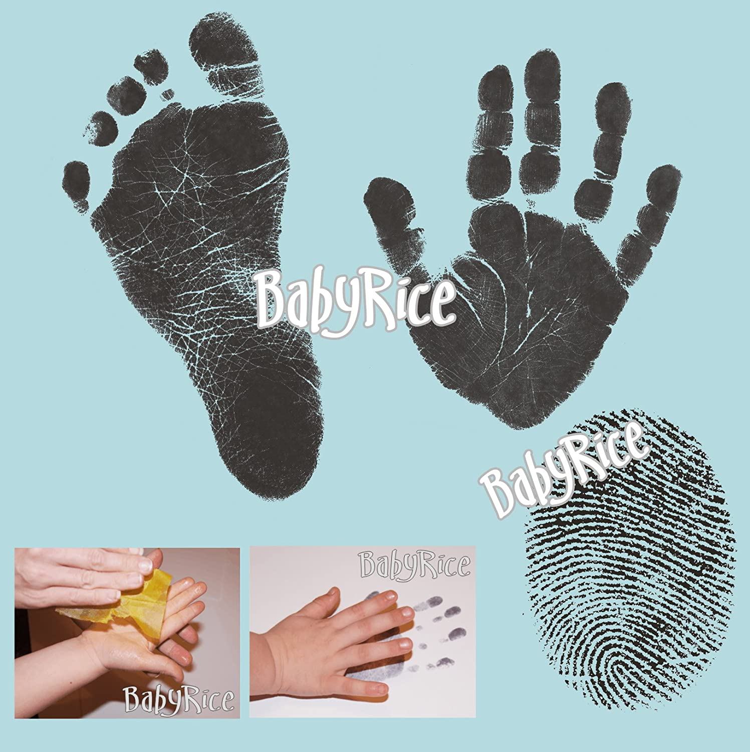 Choose pack size 1 WIPE // 2xA4 CARDS BabyRice Value Baby Handprints and Footprints Kit Black Inkless Wipes No Messy Ink