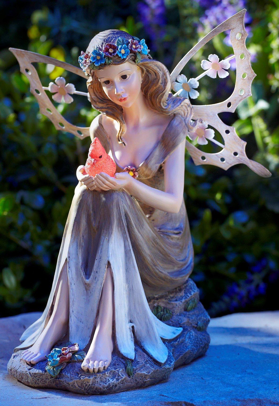 Moonrays 91351 Solar Powered Garden Fairy with Glowing Cardinal by Moonrays (Image #2)