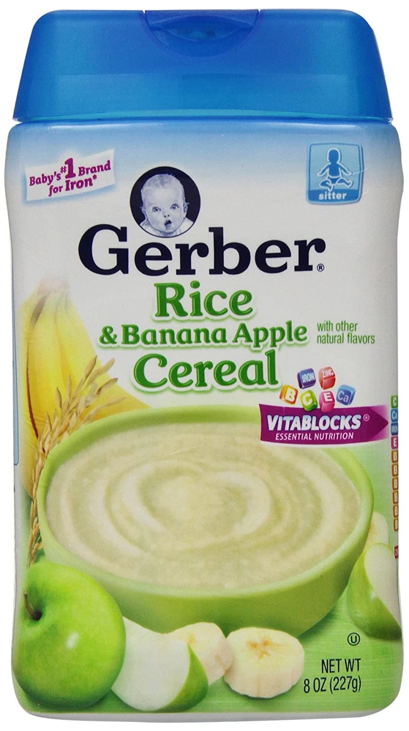 Gerber Baby Cereal Rice, Banana Apple, 8 Ounce 07010