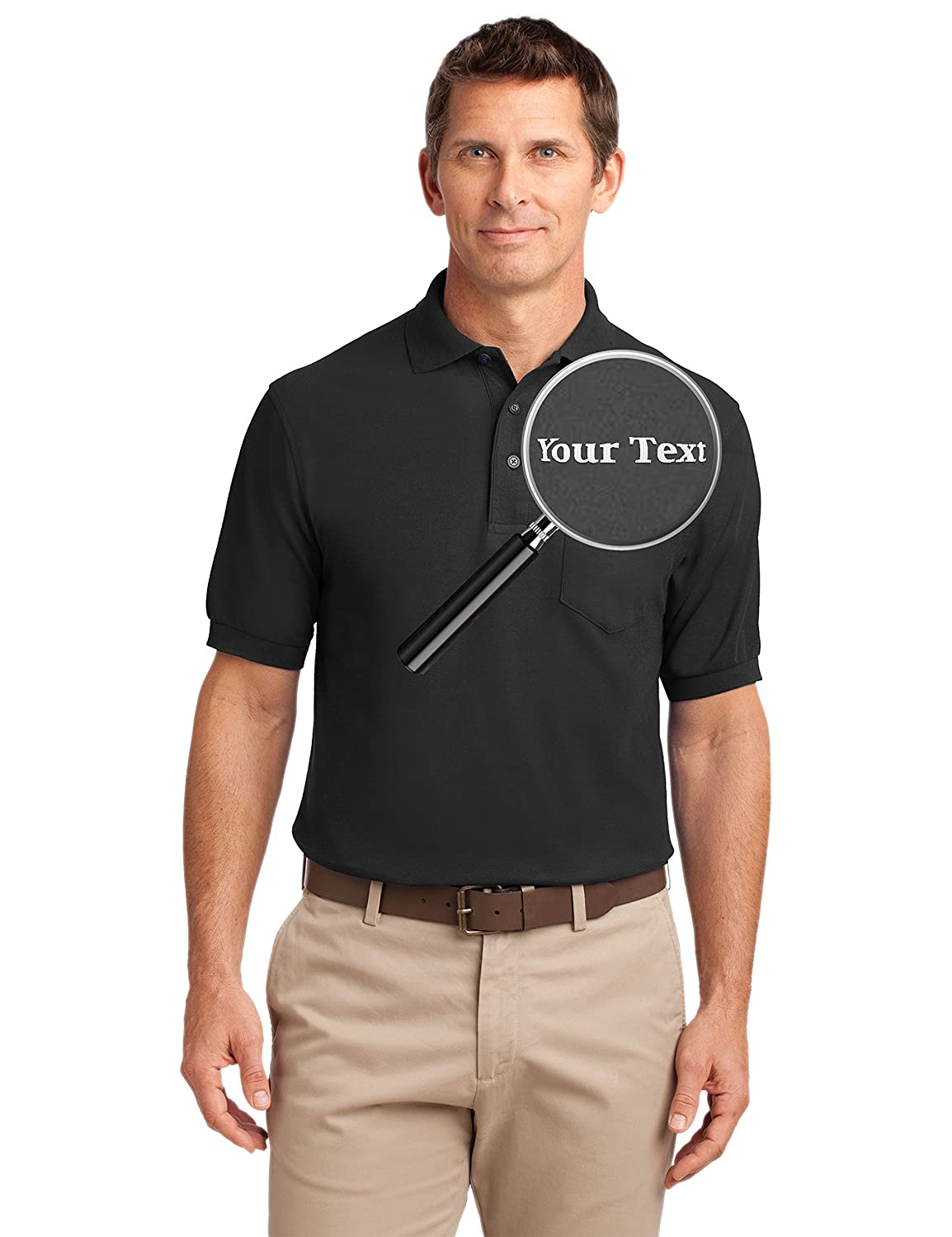 Amazon Custom Embroidered Mens Polo Shirts With Pockets