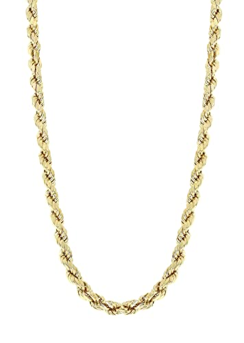 "8191de186112e MCS Jewelry 10K Yellow Gold Hollow Rope Chain Necklace 2.5mm (Length:  18""-24"