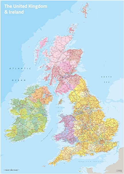 Cartina Politica Regno Unito E Irlanda.Regno Unito E Irlanda Mappa Politica Del Laminato 62 2 X 87 Cm Da Parete Amazon It Cancelleria E Prodotti Per Ufficio