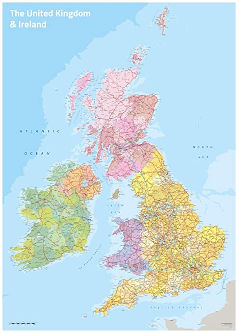 Map Of Ireland England.Amazon Com Uk Ireland Political Wall Map Posters Prints