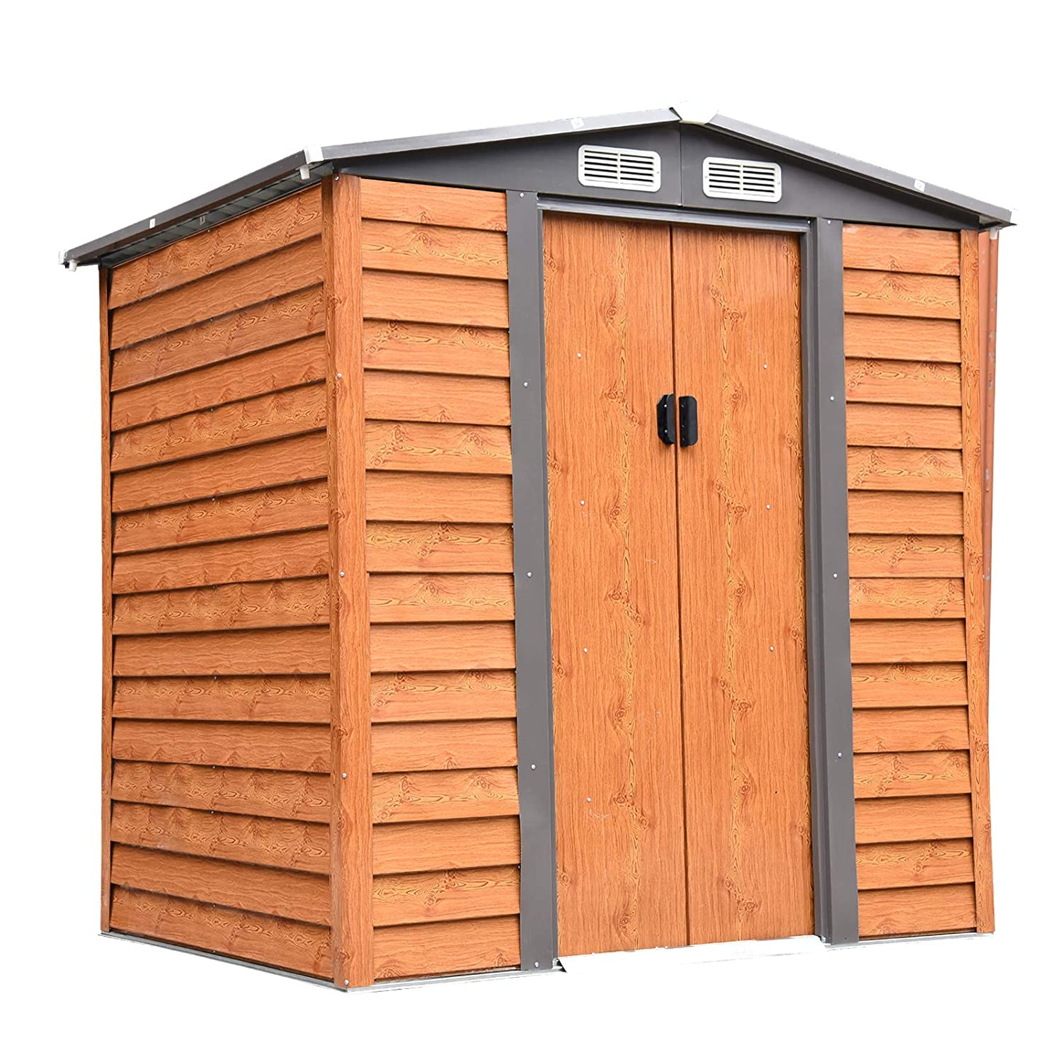 193L x 152W x 176.5-203H cm Outsunny 5 x 7 ft Metal Garden Shed House Hut Gardening Tool Storage with Foundation and Ventilation Brown with wood grain 193L x 152W x 203H cm