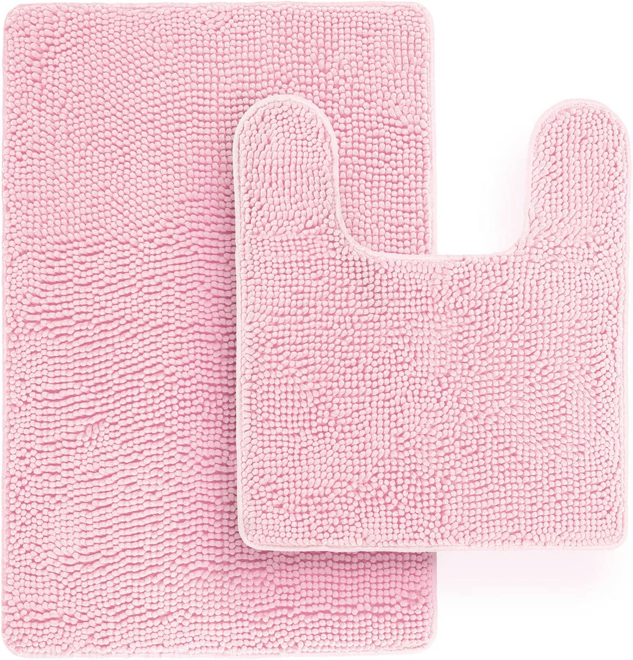 "Tafts Bathroom Rugs and Mats Sets, Ultra Soft Chenille Microfiber, Absorbent Non-Slip Machine Washable, Bathroom Decor, Super Plush Bath Mat for Bathroom, Shower & Tub, 20""x22"" & 21""x32"", Light Pink"