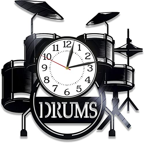 Kovides Drums Birthday Gift Idea Musical Instrument Vinyl Clock 12 Inch