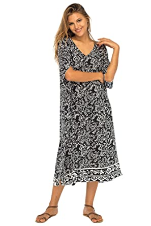 ce8d0a569bdc7c Back From Bali Womens Loose Maxi Beach Dress Cover Up Long Poncho Bun Black