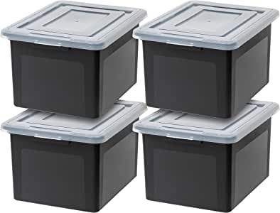 IRIS USA R-FB-21E Letter & Legal Size File Box, Medium, Black, 4 Pack