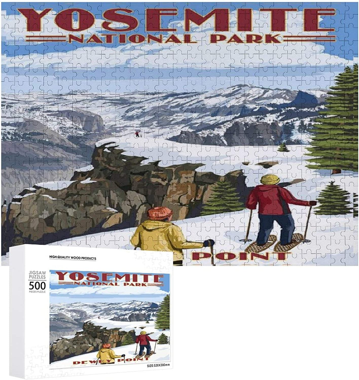 Yosemite National Park Winter Ski Travel Poster Jigsaw Puzzles for Adults 500 Piece with Wooden 20.5x15 inch Colorful