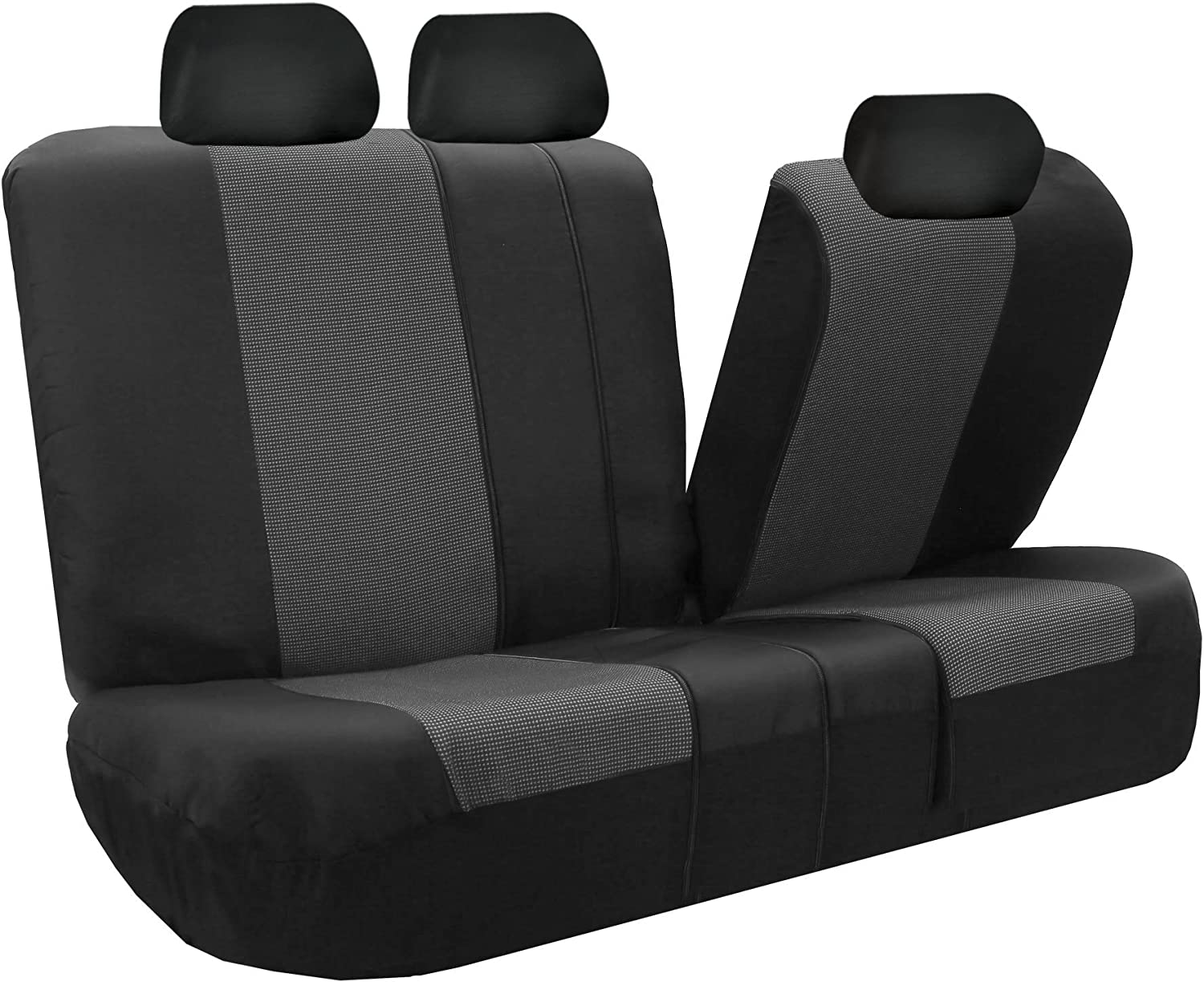 FH Group Light /& Breezy Cloth Seat Cover Set Airbag /& Split Ready Truck Gray//Black- Fit Most Car SUV or Van