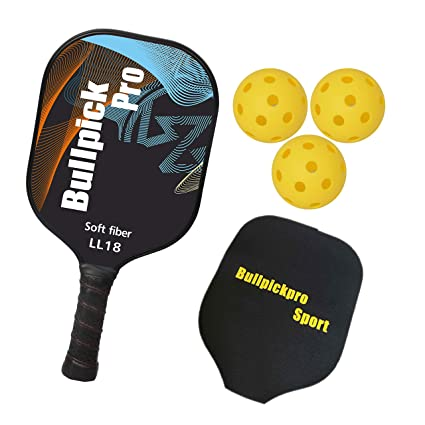 Bullpickpro Pickleball Paddle Sets-Composite Fiber Face and PP Honeycomb Core Pickleball Racquet,Lightweight Edge Guard Balanced Pickleball Rackets with 3 ...