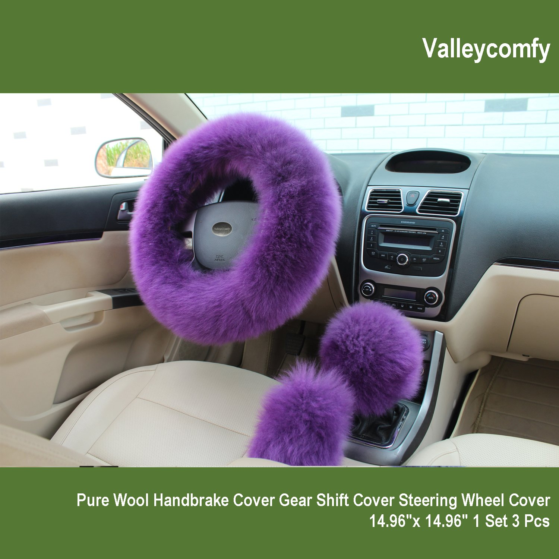 Amazon Valleycomfy Fashion Steering Wheel Covers For Women Girls Ladies Australia Pure Wool 15 Inch 1 Set 3 Pcs Purple Automotive