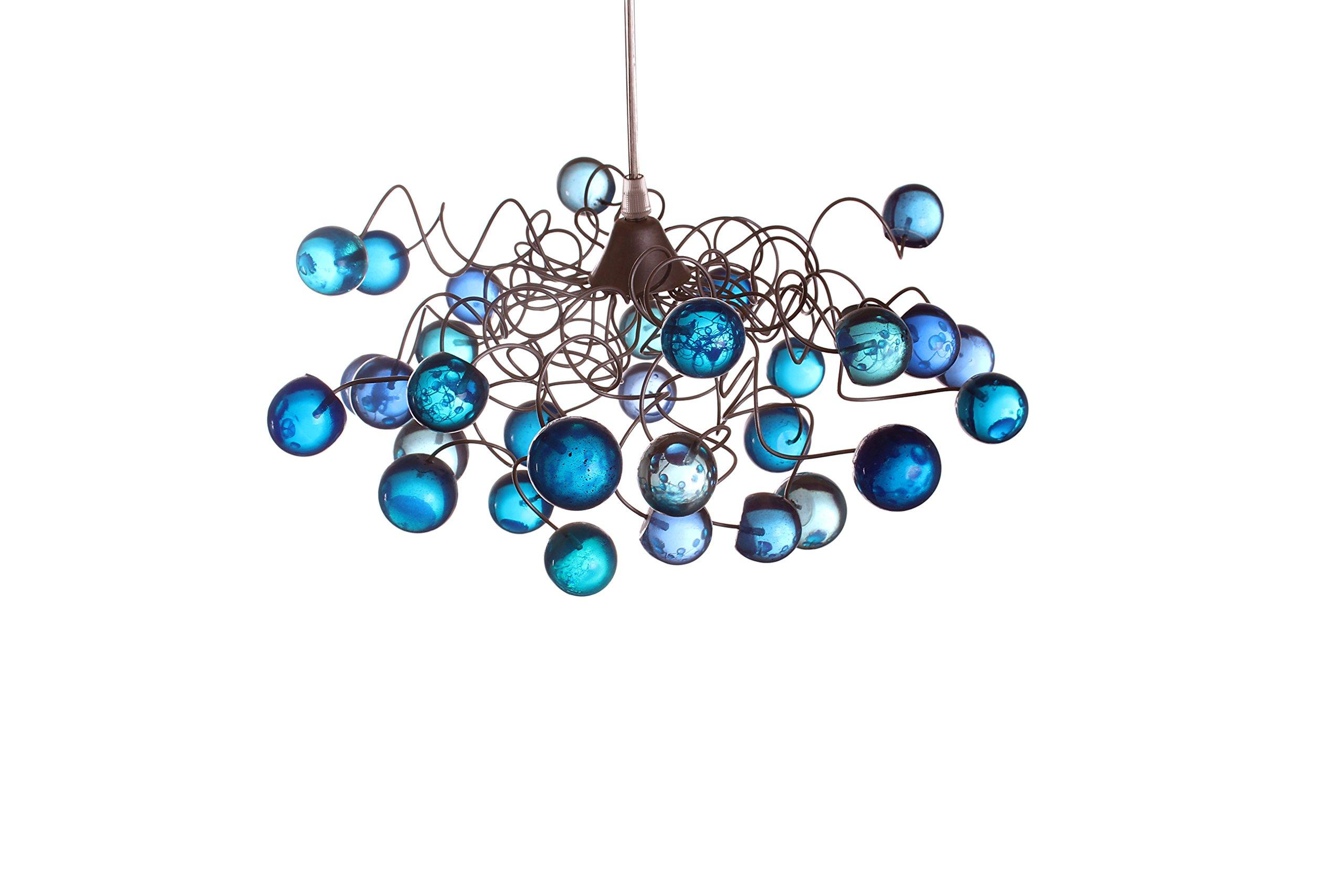 Blue Lamp Shades - Bule marble Pendant lighting - Ceiling Lights for Children's Room - Boys Room Lighting