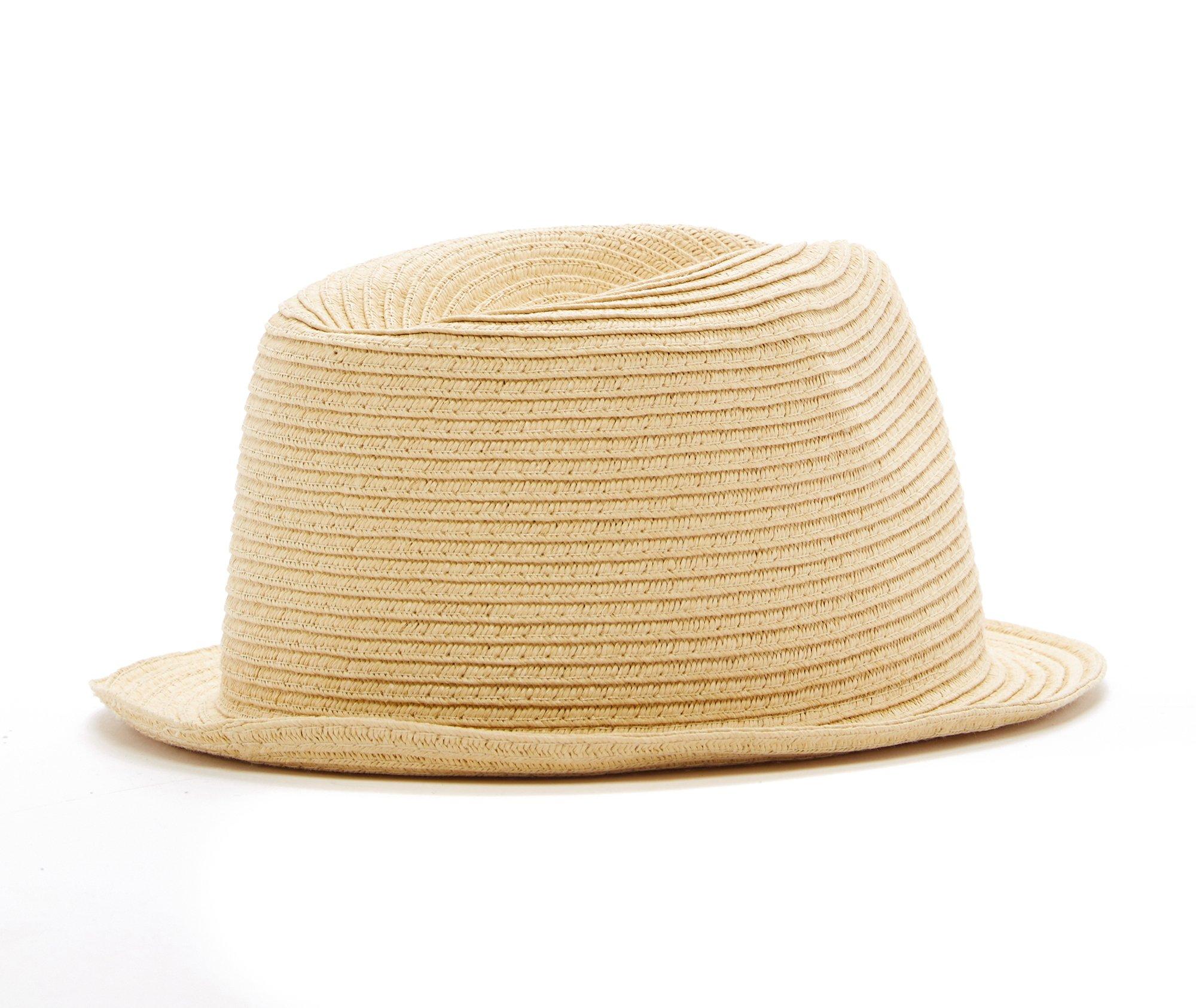 Born to Love Infant/Toddler Boy's Fedora Hat (S (12-24 Months), Light Straw)
