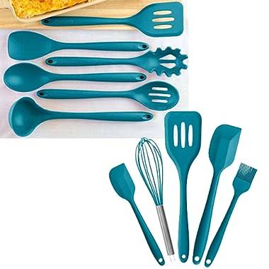 StarPack Value Bundle 0027-6-Pc XL Silicone Kitchen Utensils (13.5 ) and 5-Pc Silicone Kitchen Utensils (10.6 ) - Teal Blue