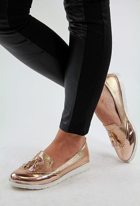 4efdee715046 Larena Fashion New Womens Loafers Brogue Ballet Glitter Metallic Tassel  Pumps Casual Flat Shoes (36 3 UK