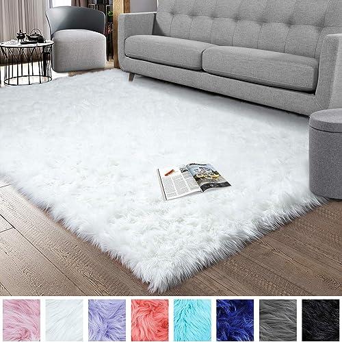 Noahas Luxury Fluffy Rugs Bedroom Furry Carpet Bedside Sheepskin Area Rugs Children Play Princess Room Decor Rug, 5ft x 8ft White