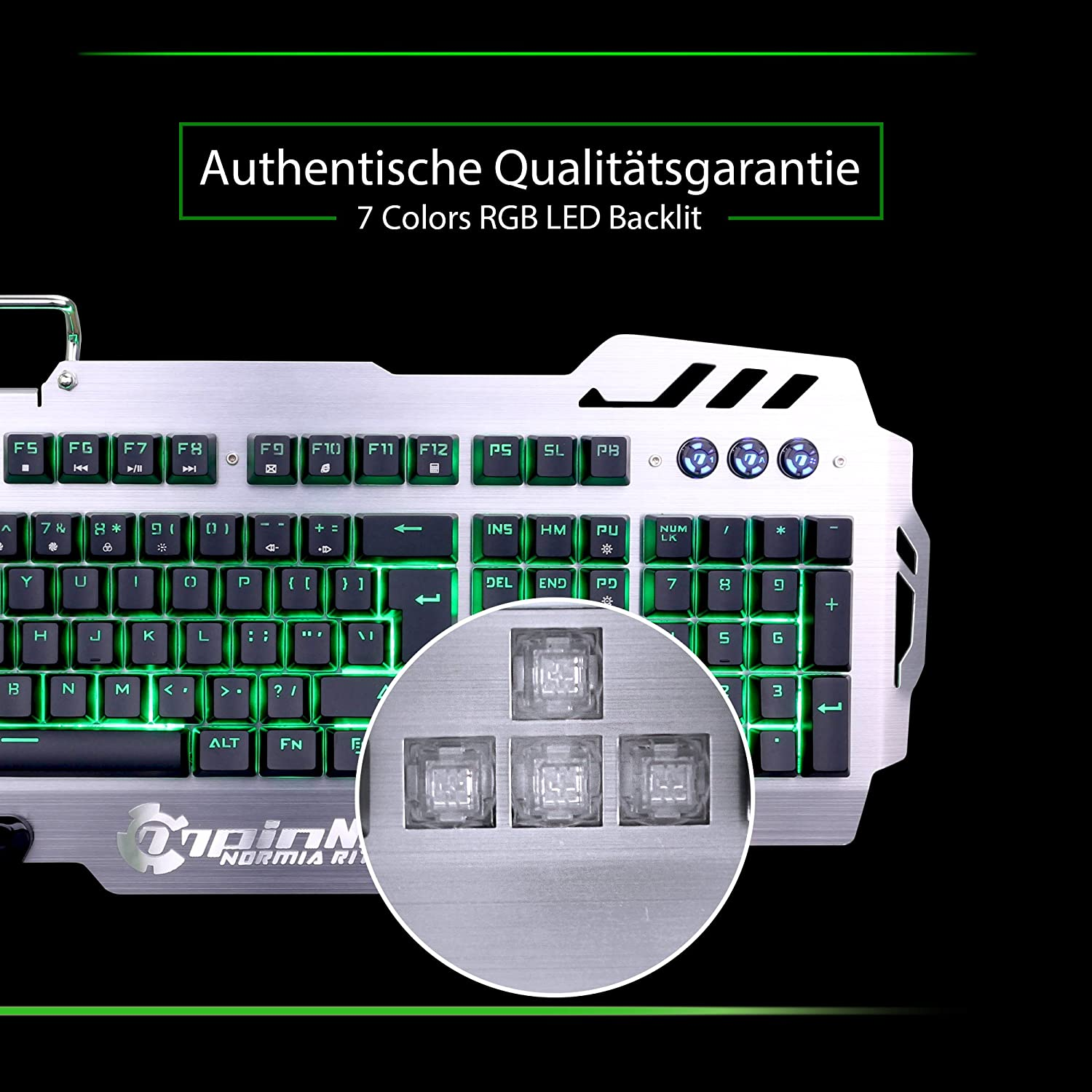 Backlight RGB LED Normia Rita 104 Key Clicky Mechanical Keyboard Mechanical-Similar Typing Experience Switch MX RGB Green Gray