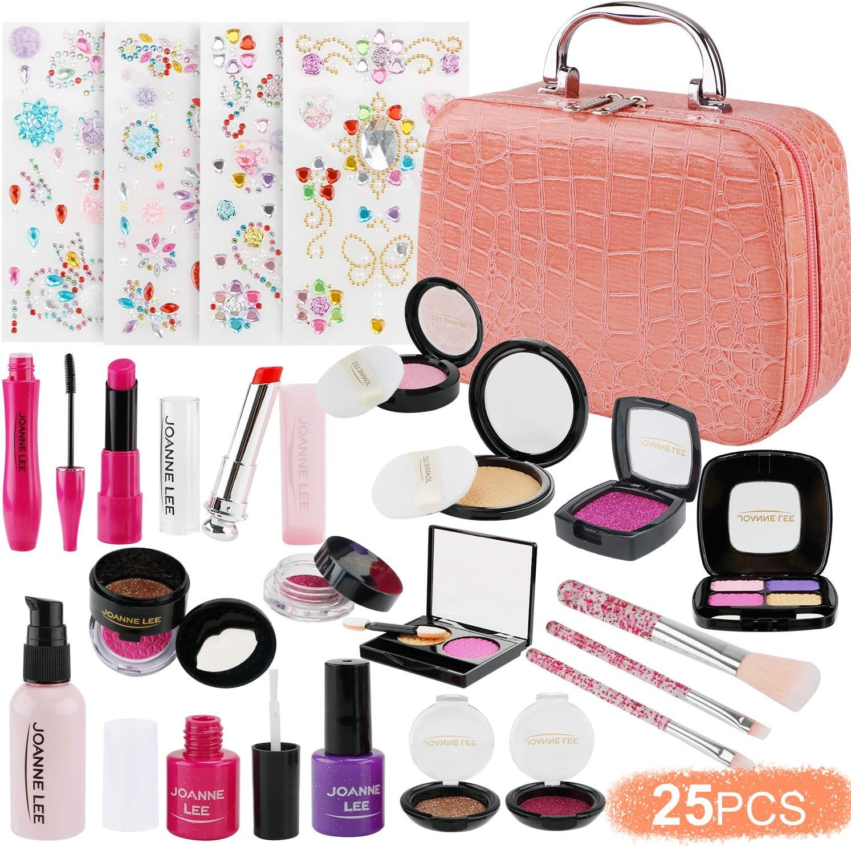 FancyWhoop Maquillaje Niñas Set 25 Piezas Set de Maquillaje con 4 Pegatinas de Joyas cosmético Lavable Maquillaje de Juguete para niñas Maquillaje niñas 3 años