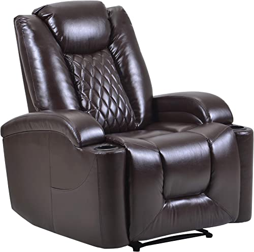 Power Electric Recliner Chair with USB Charge Port and Cup Holder – Home Theater Seating Recliner Sofa Overstuffed Electric PU Recliner ChairBedroom Living Room Chair