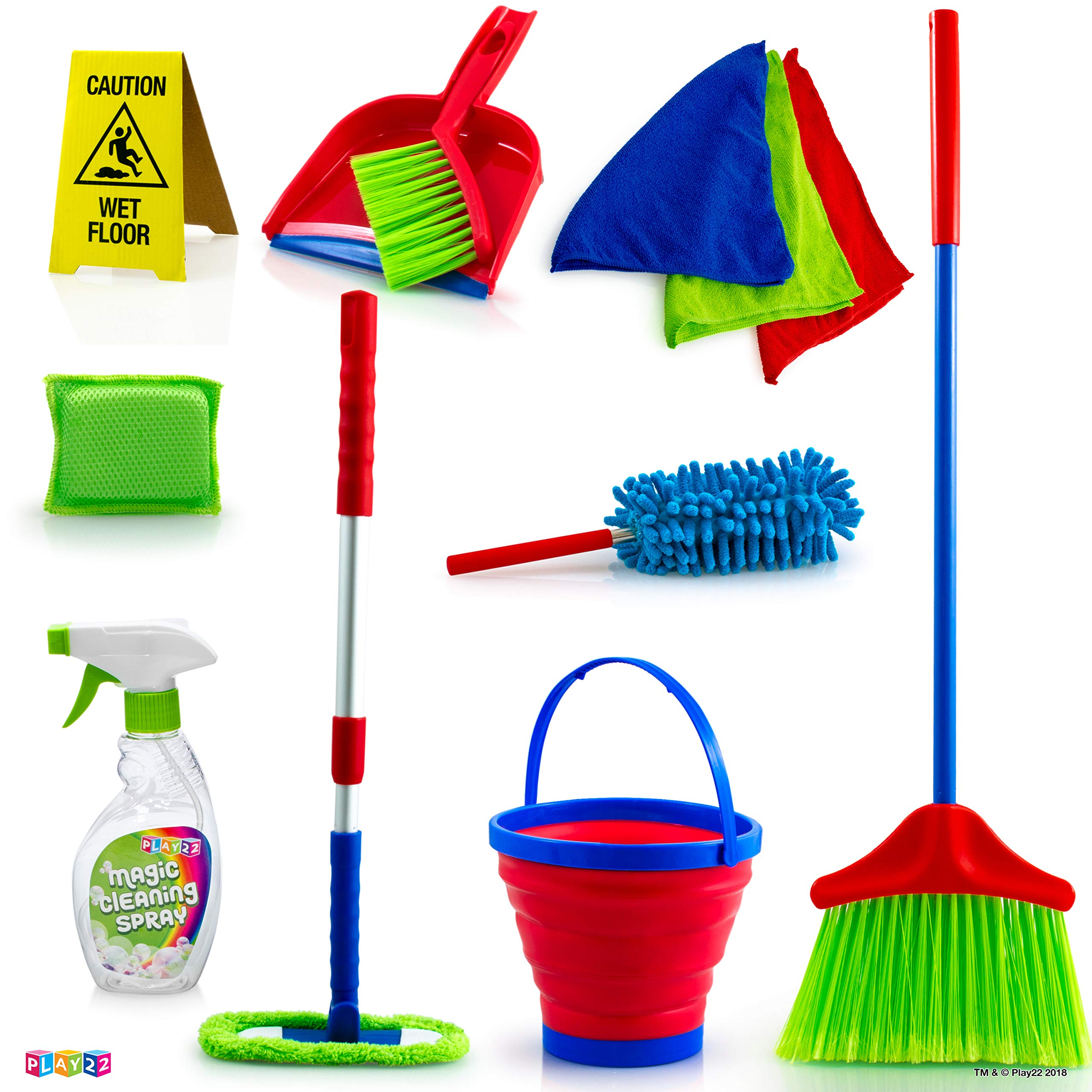 Play22 Kids Cleaning Set 12 Piece - Toy Cleaning Set Includes Broom, Mop, Brush, Dust Pan, Duster, Sponge, Clothes, Spray, Bucket, Caution Sign, - Toy Kitchen Toddler Cleaning Set - Original by Play22