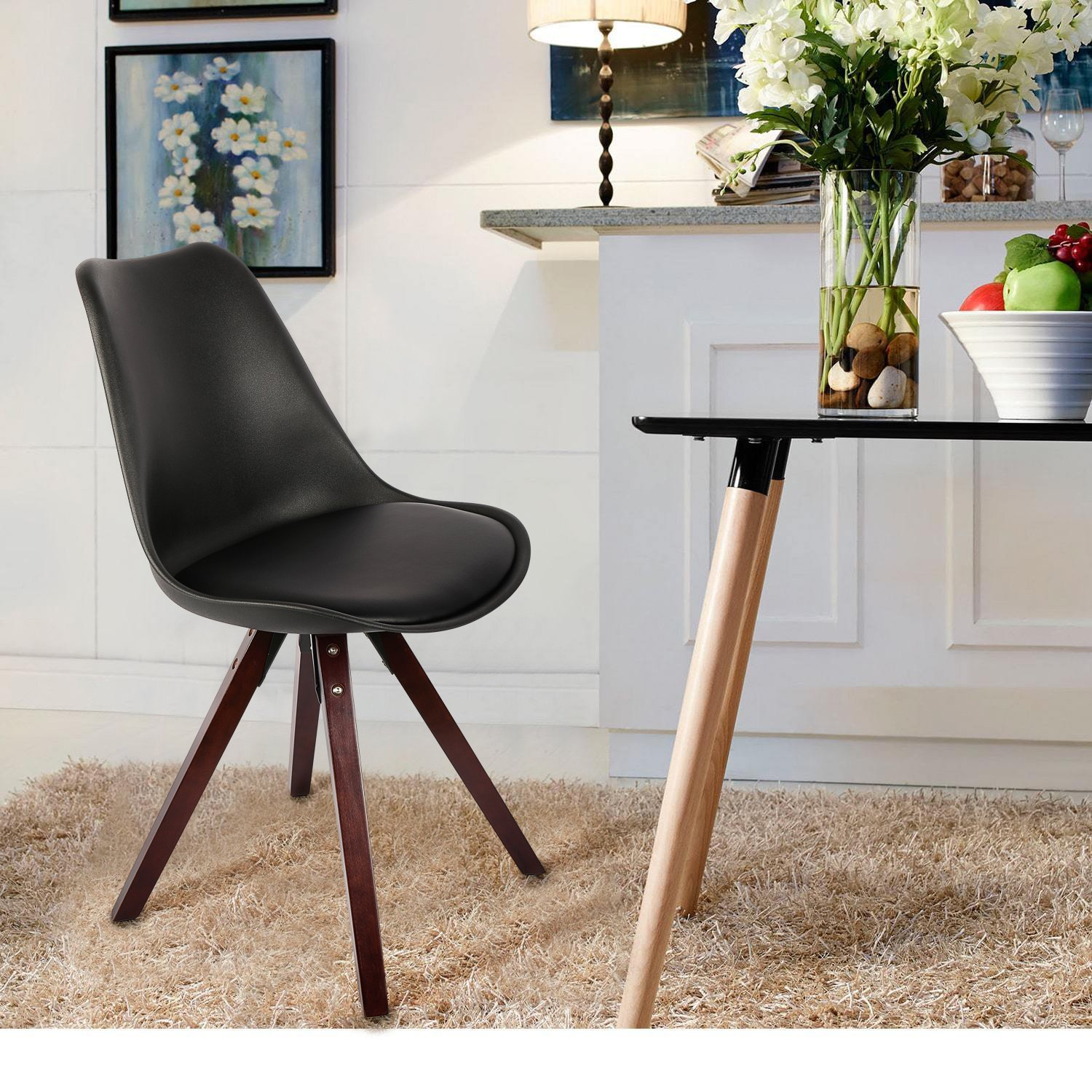 LCH Soft Padded Seat Dining/Living Room Chairs, Modern and Body Engineering Design Chairs with Solid Wooden Legs 2 PC, Black