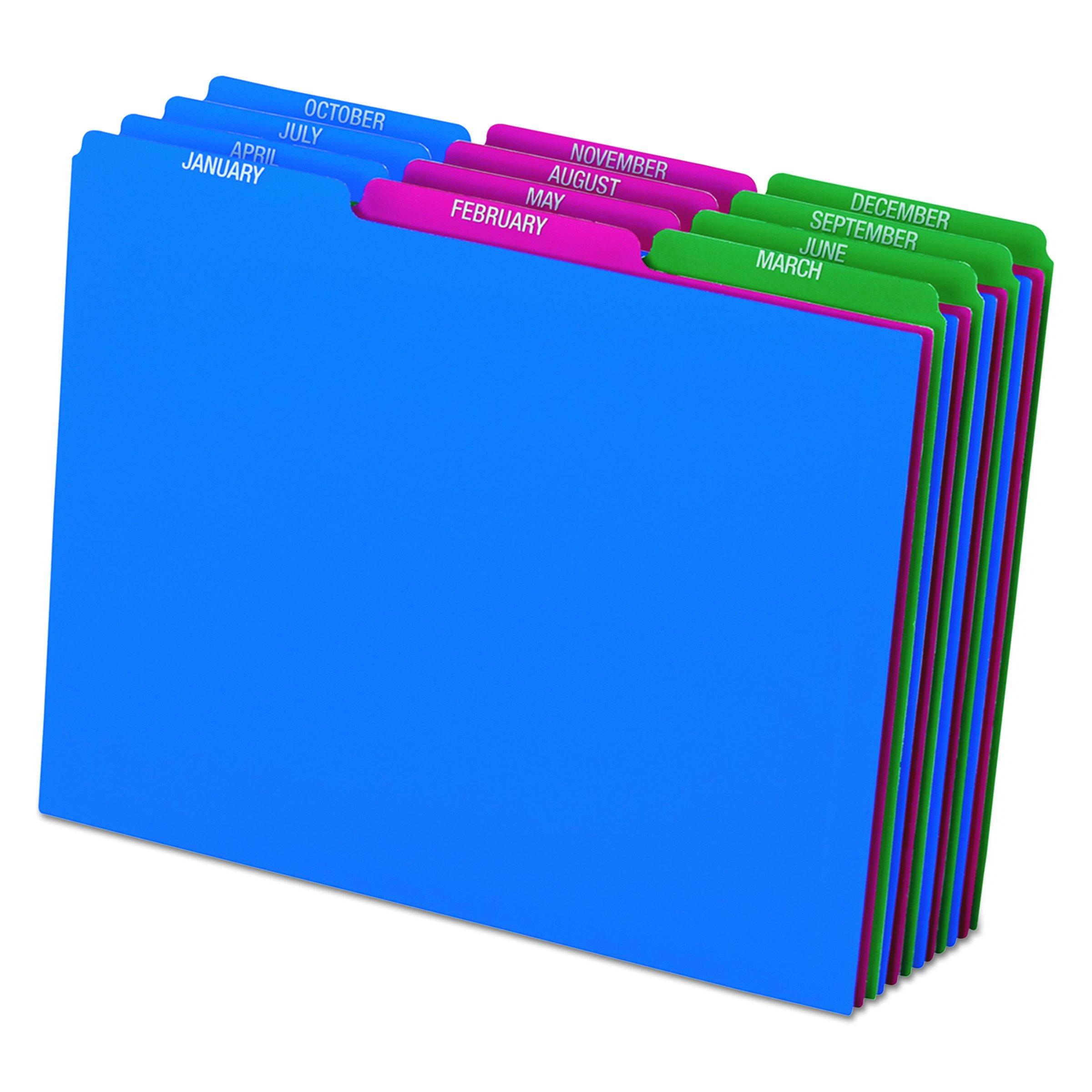Pendaflex 40144 Top Tab File Guides, Monthly/Jan-Dec, 1/3 Tab, Polypropylene, Letter (Set of 12)