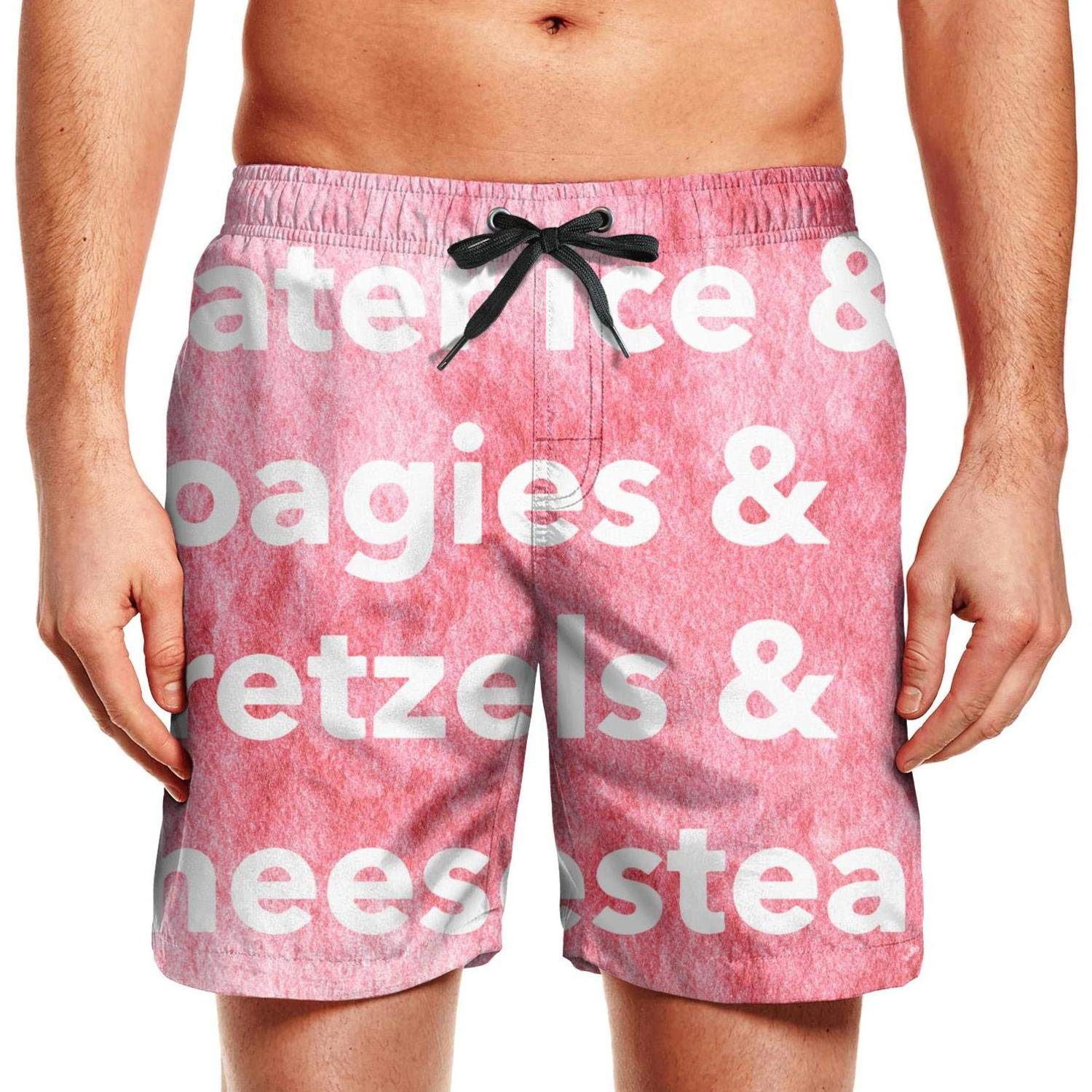 Men Pittsburgh PA Yellow Lettering Casual Polyester Quick Dry Surfing Swimming Shorts
