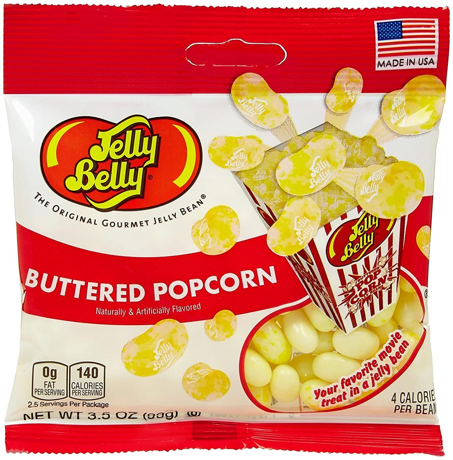 Amazon Com Jelly Belly Single Flavor Beans Buttered Popcorn 3 5 Oz 12 Pack Grocery Gourmet Food