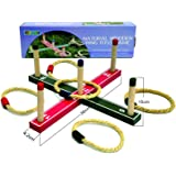 Funmate Juguetes y Juegos Natural Wooden Quoits Ring Toss Game Hoopla Set