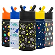 Simple Modern 10oz Summit Kids Water Bottles with Straw Lid Sippy Cup - Dishwasher Safe Vacuum Insulated Tumbler Double Wall Travel Mug 18/8 Stainless Steel Flask - Adventure Sloth