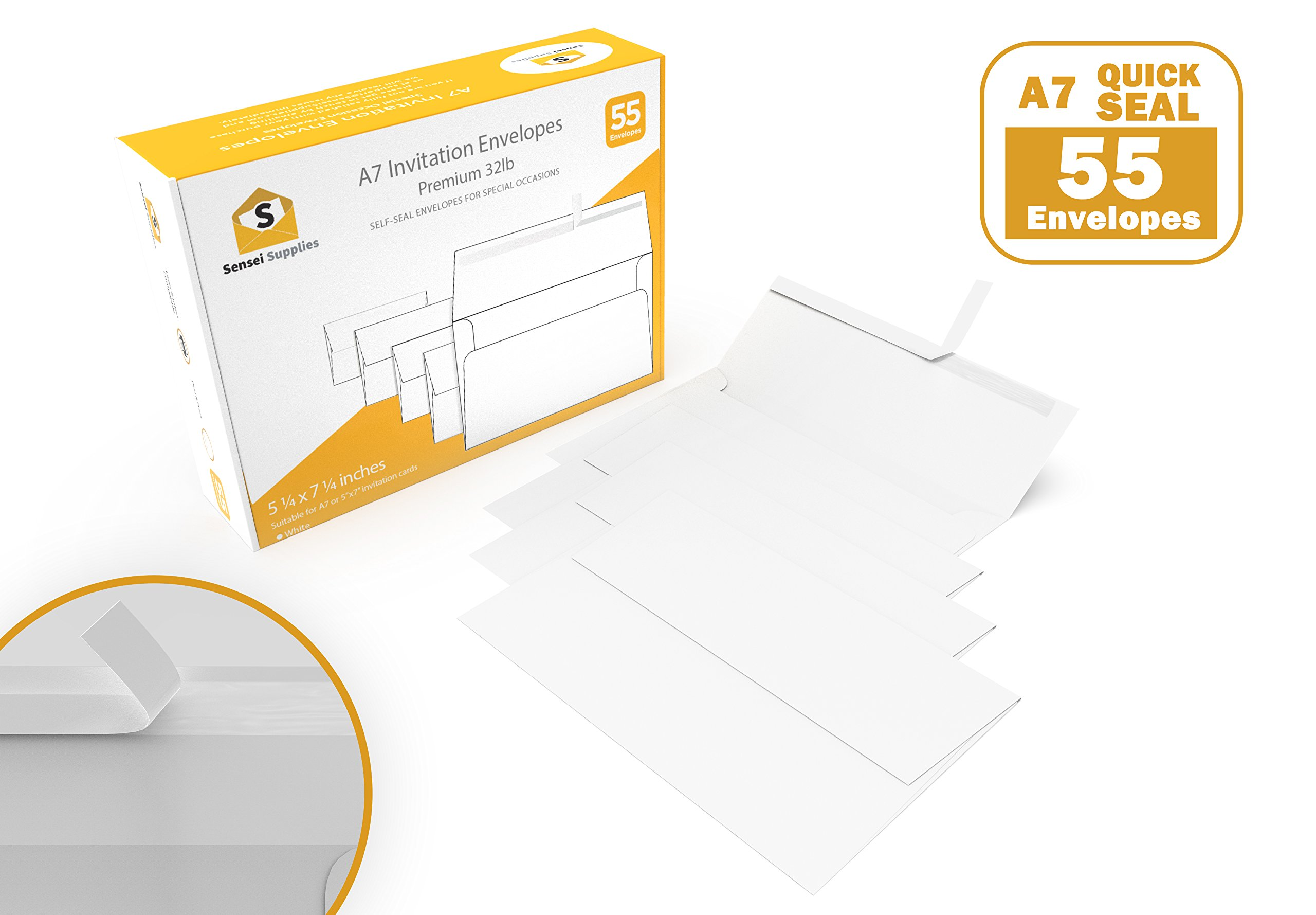 White Invitation 5 x 7 Envelopes - For 5x7 Cards - A7 - (5 ¼ x 7 ¼ inches) - Perfect for Weddings, Graduation, Baby Shower - 120 GSM - Peel, Press & Self Seal - Square Flap - (55 Pieces)