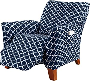 Printed Twill Recliner Slipcover. One Piece Stretch Recliner Cover. Strapless Recliner Cover for Living Room. Fallon Collection Slipcover. (Recliner, Navy)