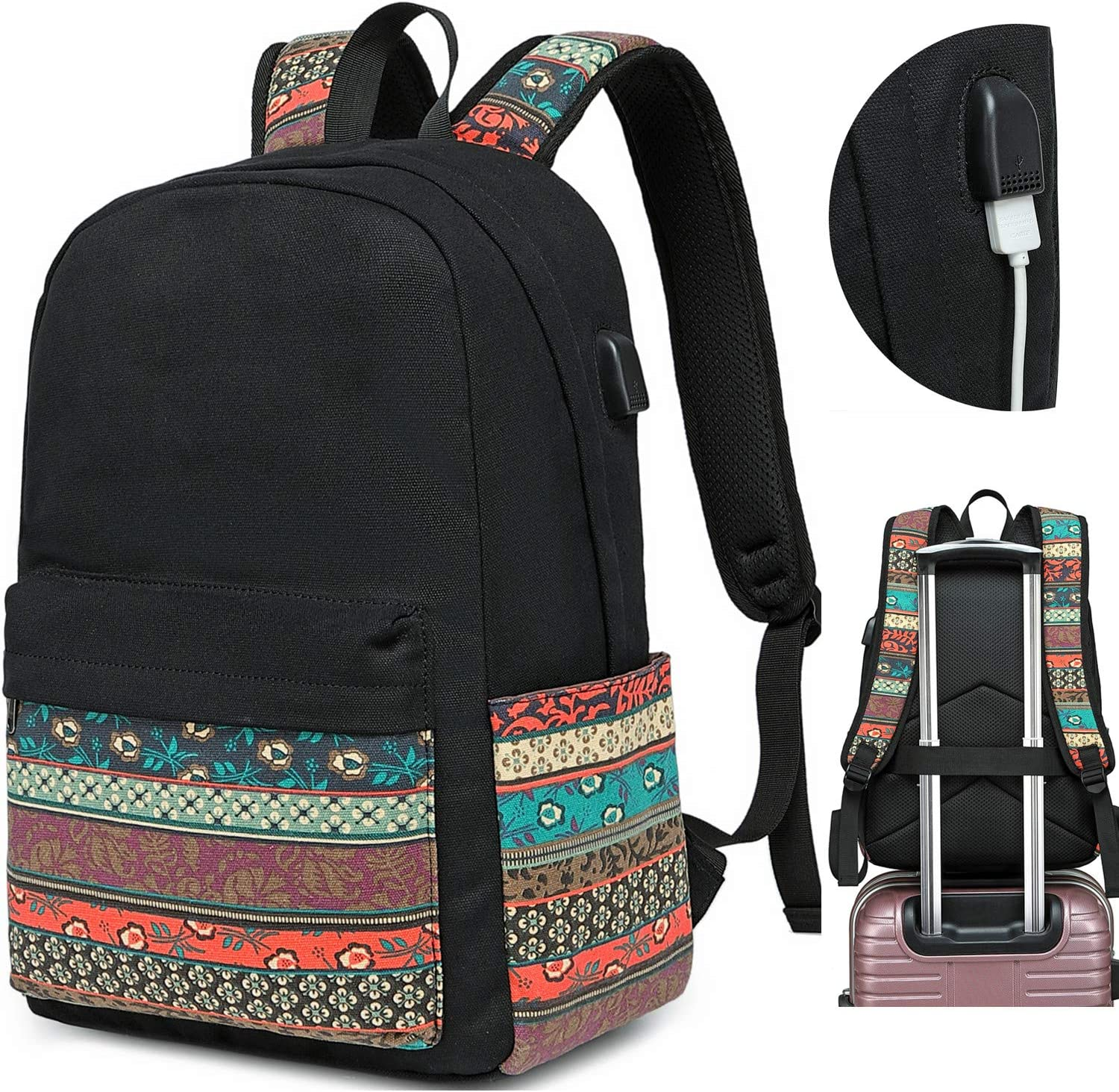 Canvas Travel Laptop Backpacks Womens College Backpack School Bag 15 Inch Usb Daypack Outdoor With Trolley Case Slot Price In Uae Amazon Uae Kanbkam