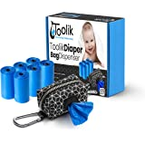 Toolik Diaper Bag Dispenser with 105 Disposable Unscented Waste Bags (7 Refill Rolls) for Baby and Toddler Poop or Dirty…