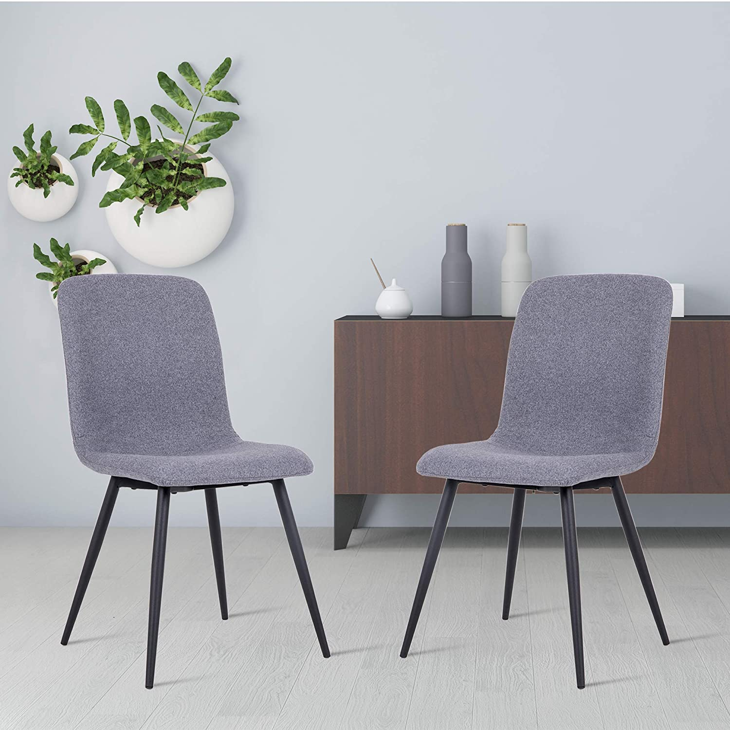 DAGONHIL Modern Dining Chairs for Kitchen,Elegant Velvet Back and Cushion,Mid Century Modern Side Chairs with Sturdy Metal Legs Set of 2 Gray