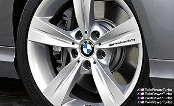 Amazon.com: BMW M TwinPower Turbo Decal Brake caliper Mirror Window decal 4pcs (black with color stripes): Automotive